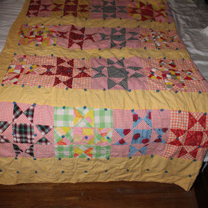 Quilt, knotted, vintage, patchwork, 68x82